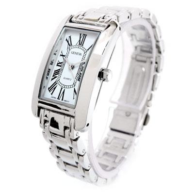 Silver Bracelet Geneva Rectangle Face Women S Watch Ebay